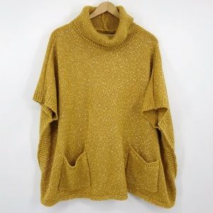Francescas Cassie Marled Cowl Neck Poncho Sweater